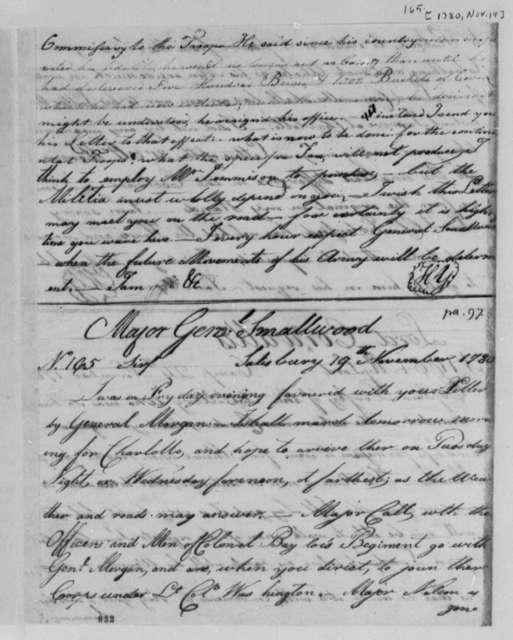 Horatio Gates to William Smallwood, November 19, 1780