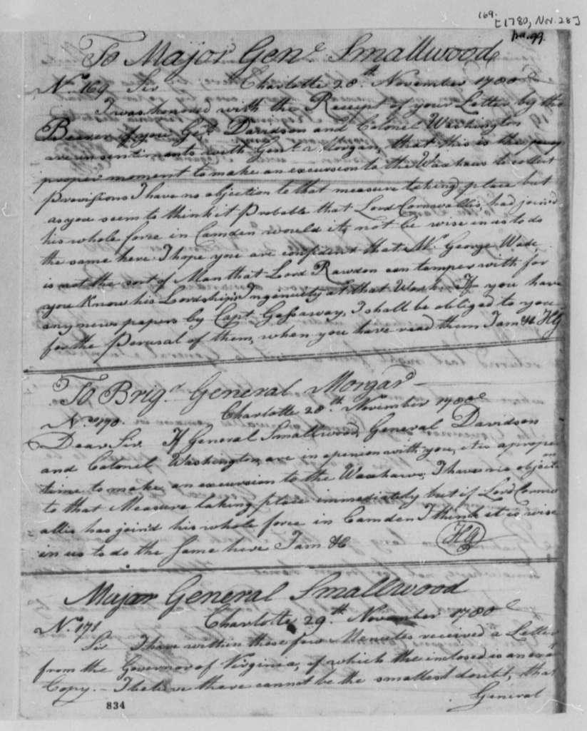 Horatio Gates to William Smallwood, November 28, 1780