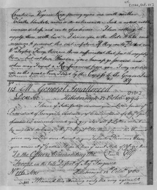 Horatio Gates to William Smallwood, October 12, 1780