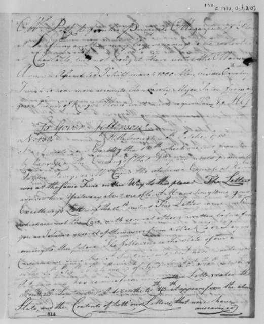 Horatio Gates to William Smallwood, October 18, 1780