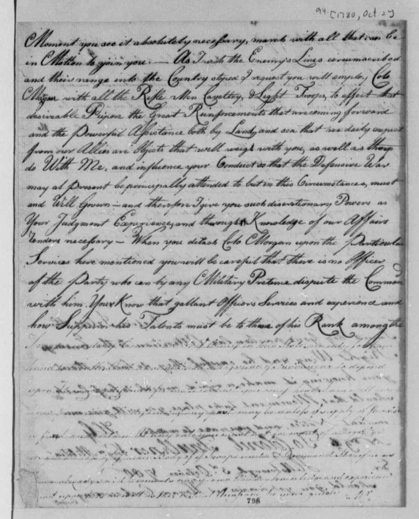 Horatio Gates to William Smallwood, October 2, 1780