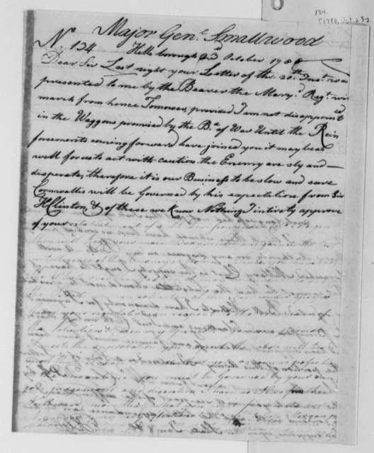 Horatio Gates to William Smallwood, October 23, 1780