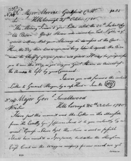Horatio Gates to William Smallwood, October 26, 1780