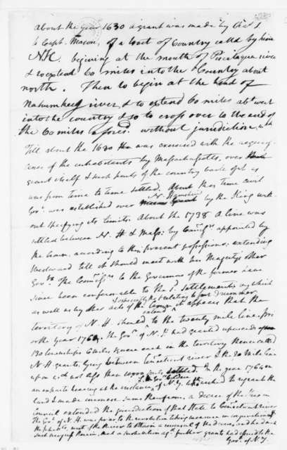 """James Madison. """"Note on Livermore Essay, New Hampshire Grants"""". 1780."""