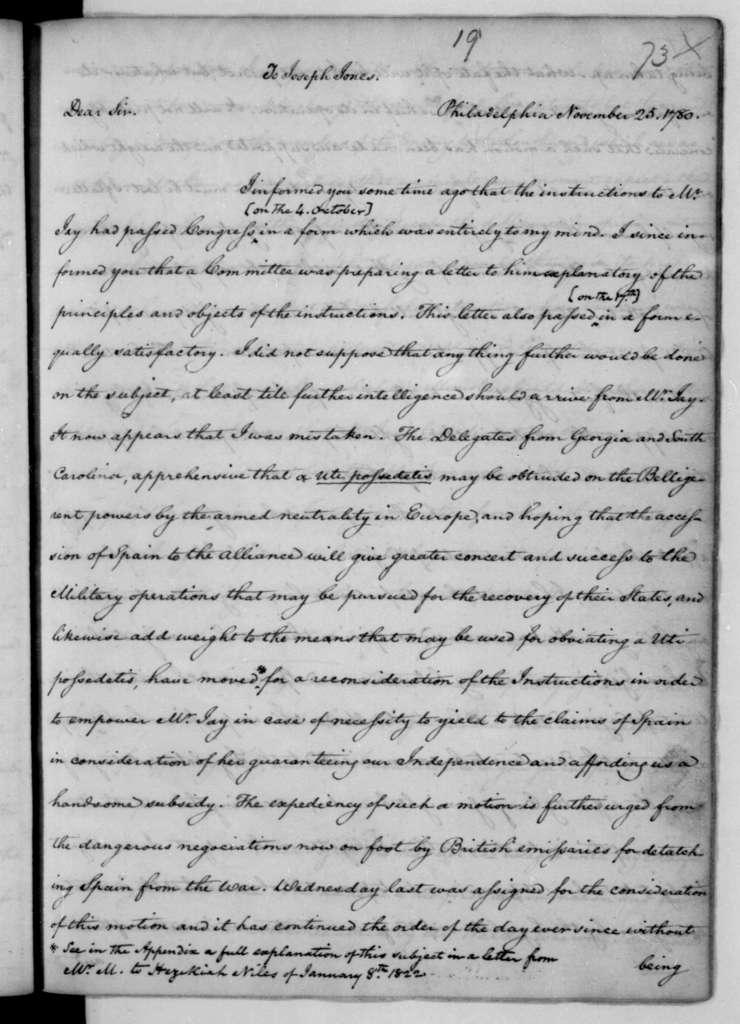 James Madison to Joseph Jones, November 25, 1780.