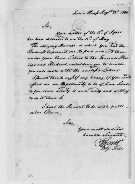 Johann Friedrich Specht to Thomas Jefferson, August 23, 1780
