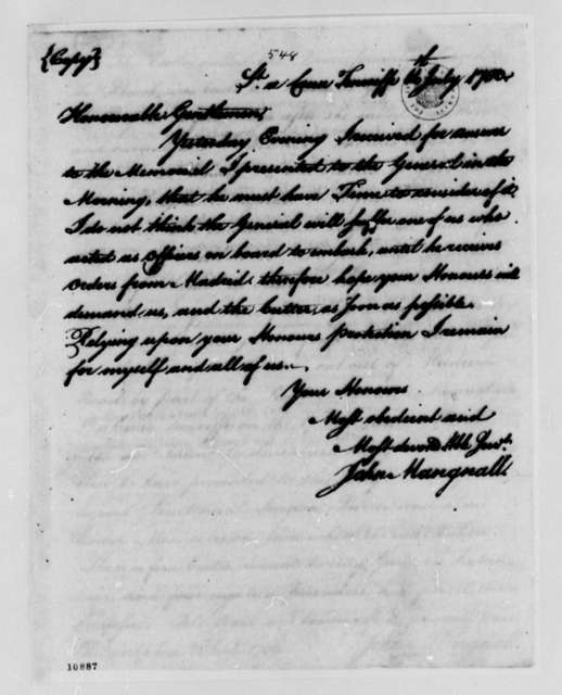 John Magnall to Congress, July 16, 1780