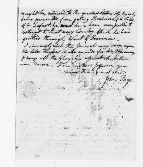 John Page to Thomas Jefferson, September 22, 1780
