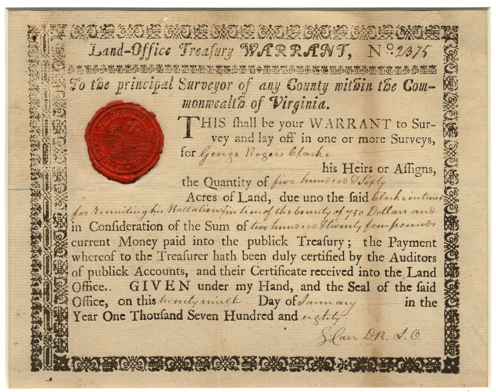 Land-Office Treasury Warrant no. 2375 for George Rogers Clark