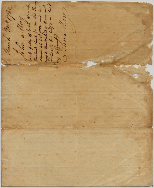 Letter from John May to Samuel Beall