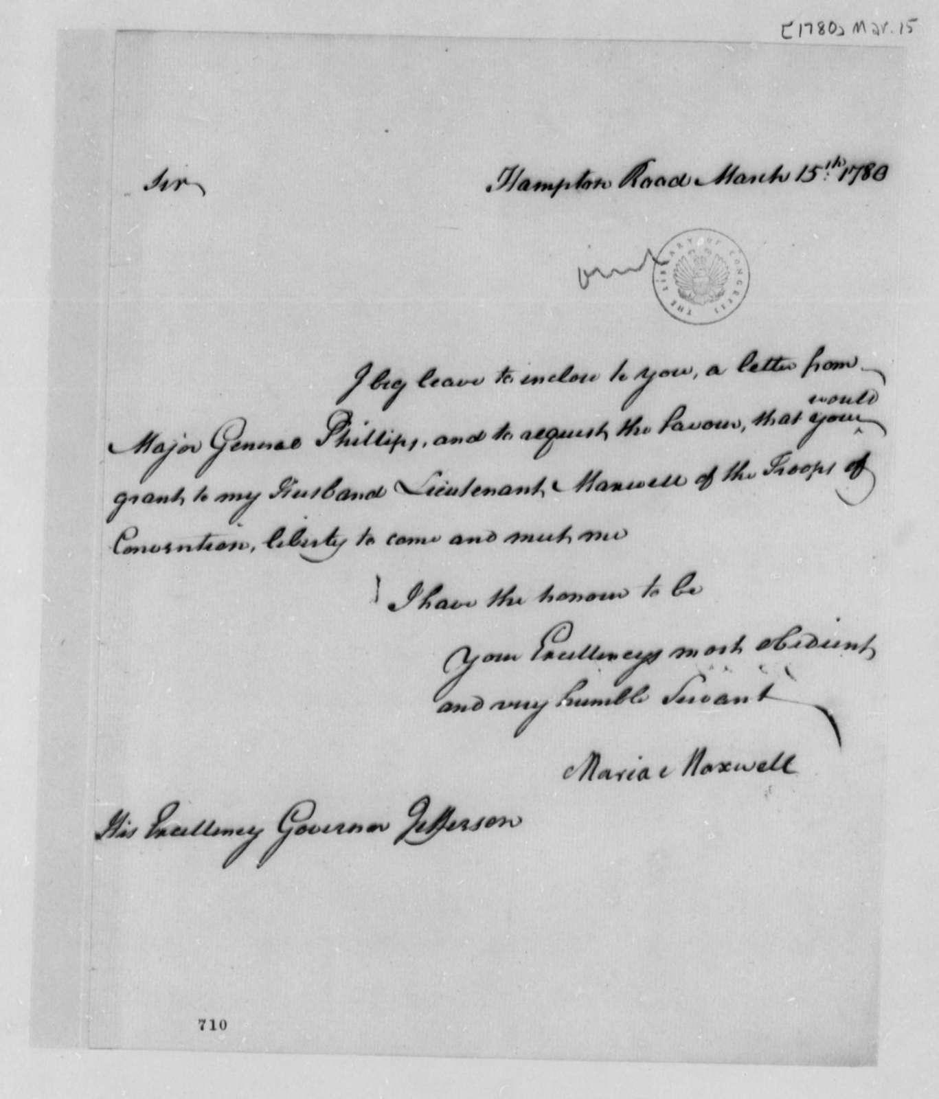 Maria Maxwell to Thomas Jefferson, March 15, 1780
