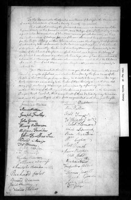 May 12, 1780, Amelia, For general dissolution of vestries and for subsequent democratic election of same; also for legalization of marriages performed by dissenting ministers.