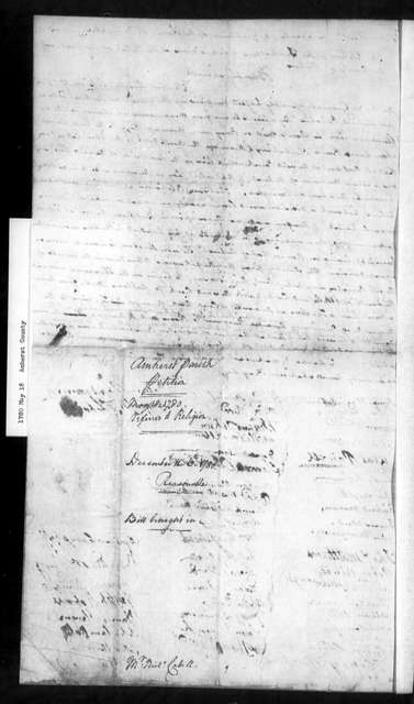 May 18, 1780, Amherst, Amherst Parish, for re-drawing of line of parish division.