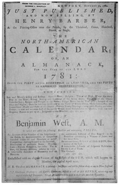 Newport, October 30, 1780. Just published and now selling, by Henry Barber, at the printing office near the parade, by the thousand, groce, hundred, dozen, or single, The North-American calendar; or, An almanack, for the uear of our Lord 1780 ..