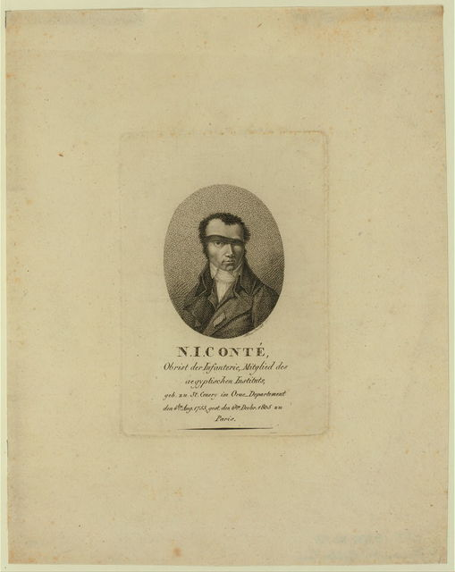 N.J. Conté. Obrist der Infanterie, Mitglied des Aegyptischen Instituts, geb. zu St. Cnery im Orne Departement den 4ten Aug. 1755, gest. den 6ten Decbr., 1805 zu Paris / A. Burch[...].