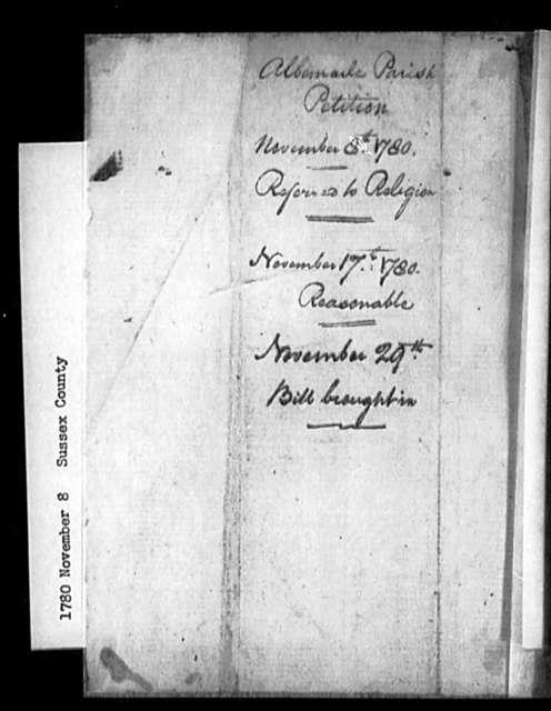 November 8, 1780, Sussex, Albemarle Parish, for dissolution of vestry.