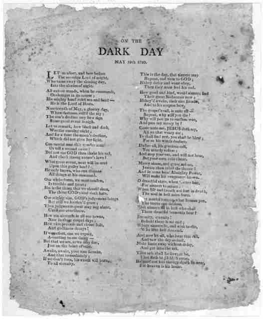 On the dark day, May 19th, 1780. [Two columns of verse].