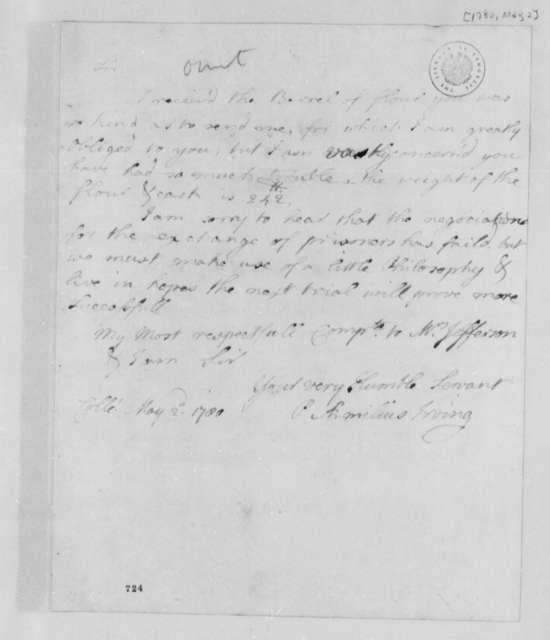 Paulus Emilius Irving to Thomas Jefferson, May 2, 1780