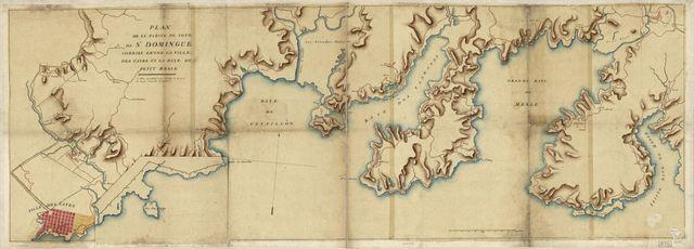 Plan de la partie de côte de St. Domingue comrise entre la ville des Cayes et la baye du Petit Mesle.