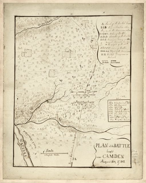 Plan of the battle fought near Camden, August 16th, 1780.