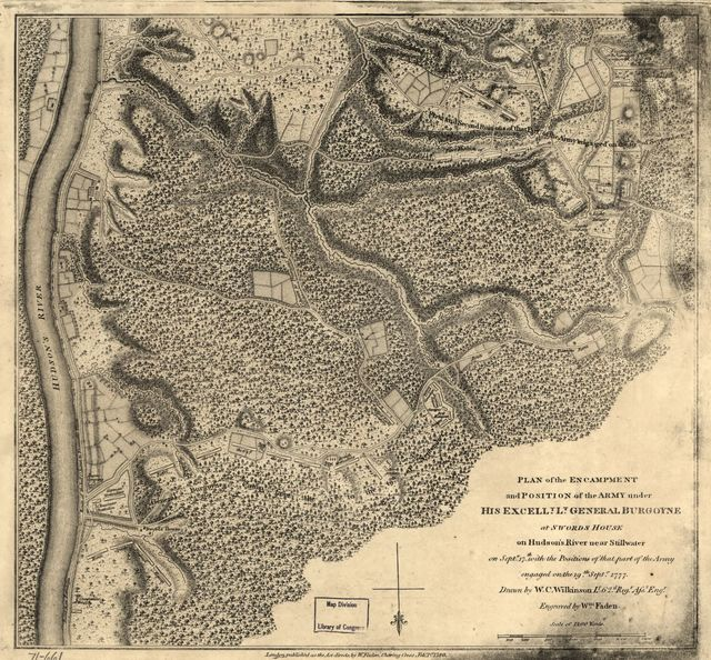 Plan of the encampment and position of the army under His Excelly. Lt. General Burgoyne at Swords House on Hudson's River near Stillwater on Septr. 17th with the positions of that part of the army engaged on the 19th Septr. 1777.