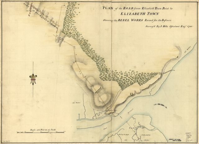 Plan of the road from Elizabeth Town Point to Elizabeth Town : shewing the rebel works raised for its defence /