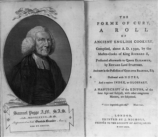[Portrait of Samuel Pegge and title page from his The Forme of Cury, a Roll of Ancient English Cookery]
