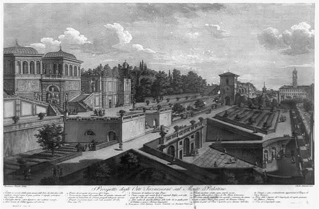 Prospetto degli Orti Farnesiani sul Monte Palatino / Carlo Antonini, inci. ; Francesco Panini, delin.