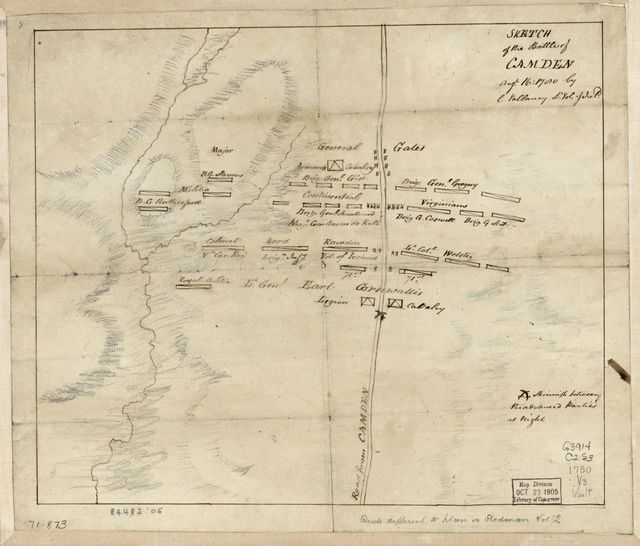 Sketch of the battle of Camden, Augt. 16, 1780,