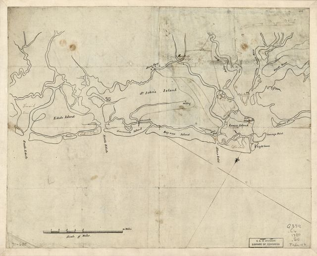 Sketch of the coast from South Edisto to Charles Town, 1st March 1780.