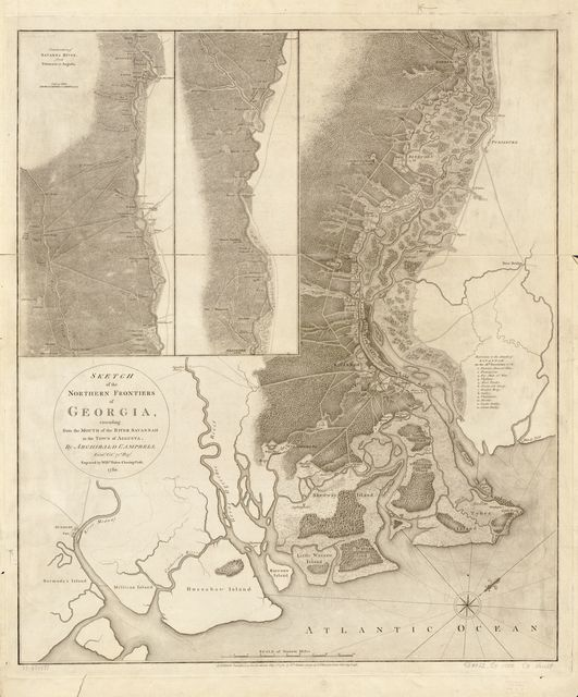 Sketch of the northern frontiers of Georgia, extending from the mouth of the River Savannah to the town of Augusta,