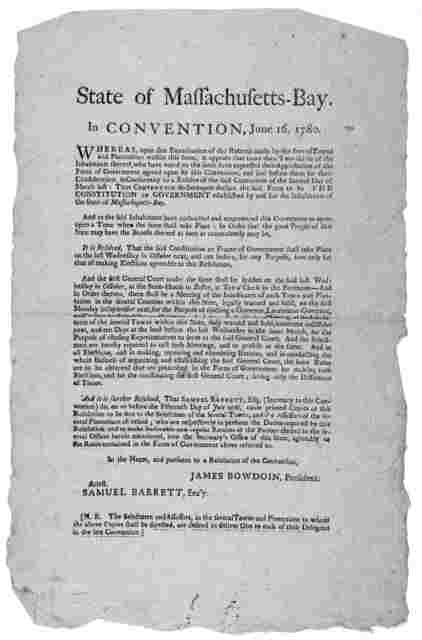 State of Massachusetts-Bay in convention, June 16, 1780. Whereas, upon due examination of the returns made by the several towns and plantations within this state, it appears that more than two thirds of the inhabitants, thereof who have voted on