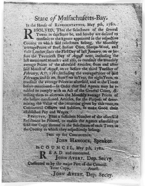 State of Massachusetts-Bay. In the House of representatives, May 5th, 1780. Resolved, that the Selectmen of the several towns in this State be, and hereby are desired to transmit to the agents appointed in the respective County, to which said se