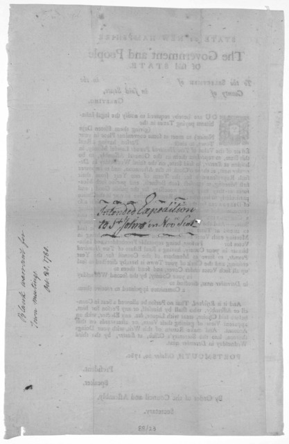 State of New-Hampshire. The government and people of said state. To the selectmen of in the County of in said State. Greetings. You are hereby required to notify the legal inhabitants paying taxes in the (giving them fifteen days notice) to meet