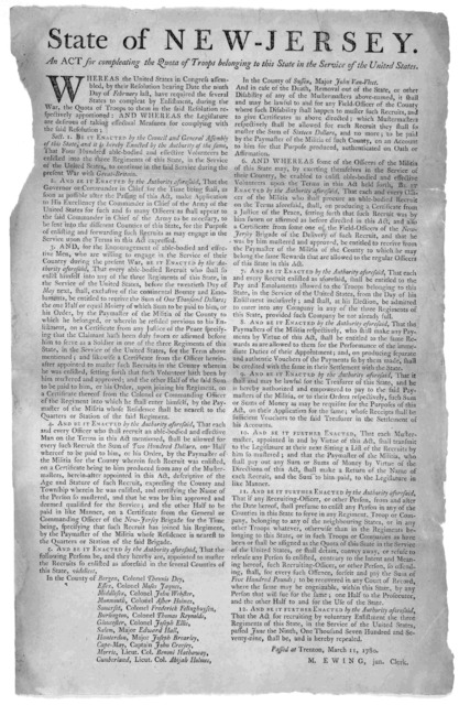 State of New-Jersey. An act for compleating the quota of troops belonging to this State in the service of the United States ... Passed at Trenton, March 11, 1780. M. Ewing, jun. clerk.
