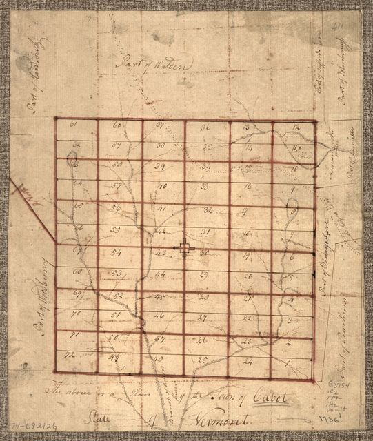 The Above is a plan of the town of Cabot, State of Vermont.
