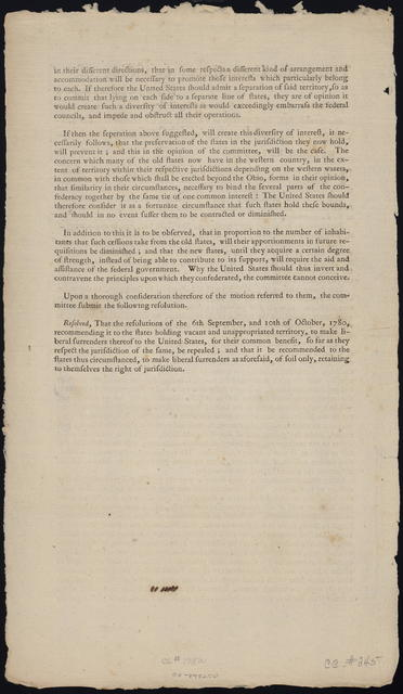 The grand committee, consisting of [blank] to whom was referred a motion of Mr. Monroe for repealing those acts of Congress which recommend to the states thus circumstanced, the cession of vacant and unappropriated territory, to the United States, so far as they respect the jurisdiction of the same, beg leave to report ...