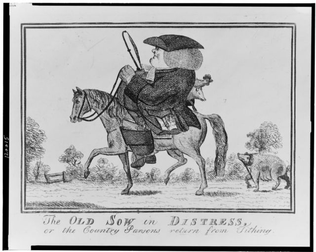 The old sow in Distress, or the country parsons return from tithing