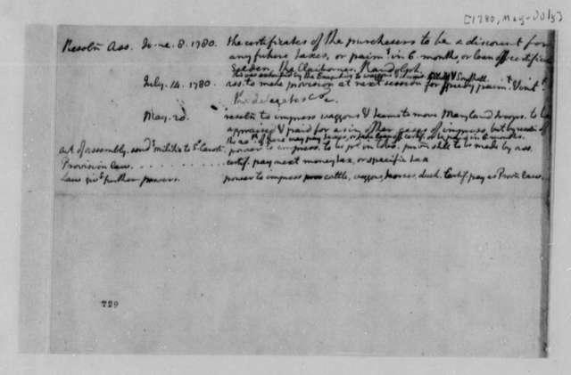 Thomas Jefferson, 1780, Abstract of Minutes on Virginia Finances and Militia