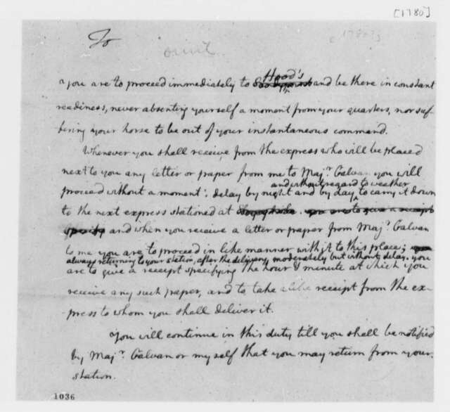 Thomas Jefferson, 1780, Instructions for Serving at Mail Station under William Galvan