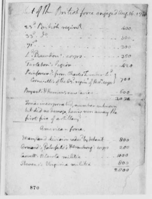 Thomas Jefferson, August 16, 1780, List of British and American Forces at Battle of Camden