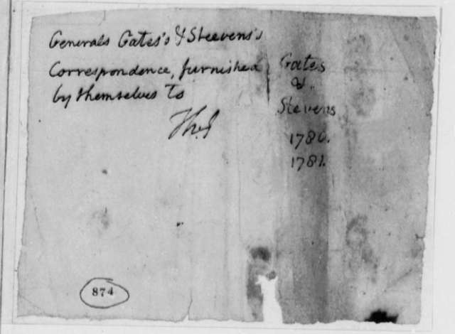 Thomas Jefferson, January 1780, Docket for Correspondence from Horatio Gates and Edward Stevens