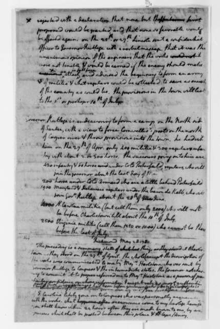 Thomas Jefferson, May 28, 1780, Military Situation at Charleston, South Carolina; Articles of Surrender