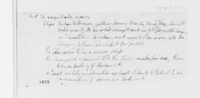 Thomas Jefferson, October 1780, Act on Navy Regulations