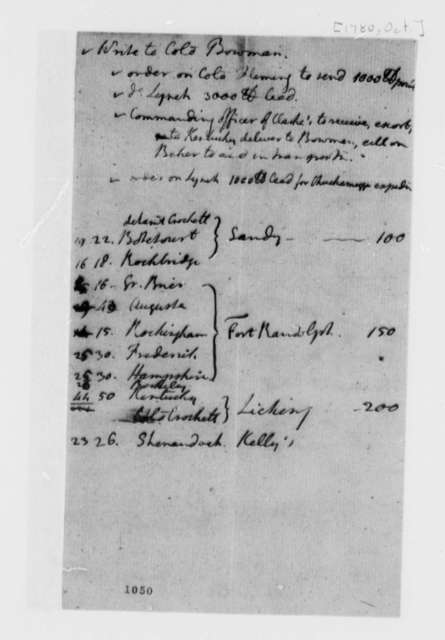 Thomas Jefferson, October 1780, Notes for Instructions to Abraham Bowman on Troop Deployment