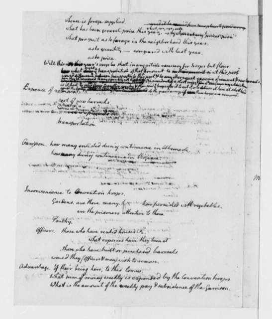 Thomas Jefferson, October 1780, Proposal on Prisoners of War; Convention Troops