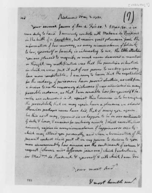 Thomas Jefferson to Friedrich Adolph, Baron von Riedesel, May 3, 1780