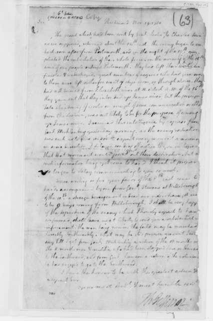 Thomas Jefferson to Horatio Gates, November 19, 1780