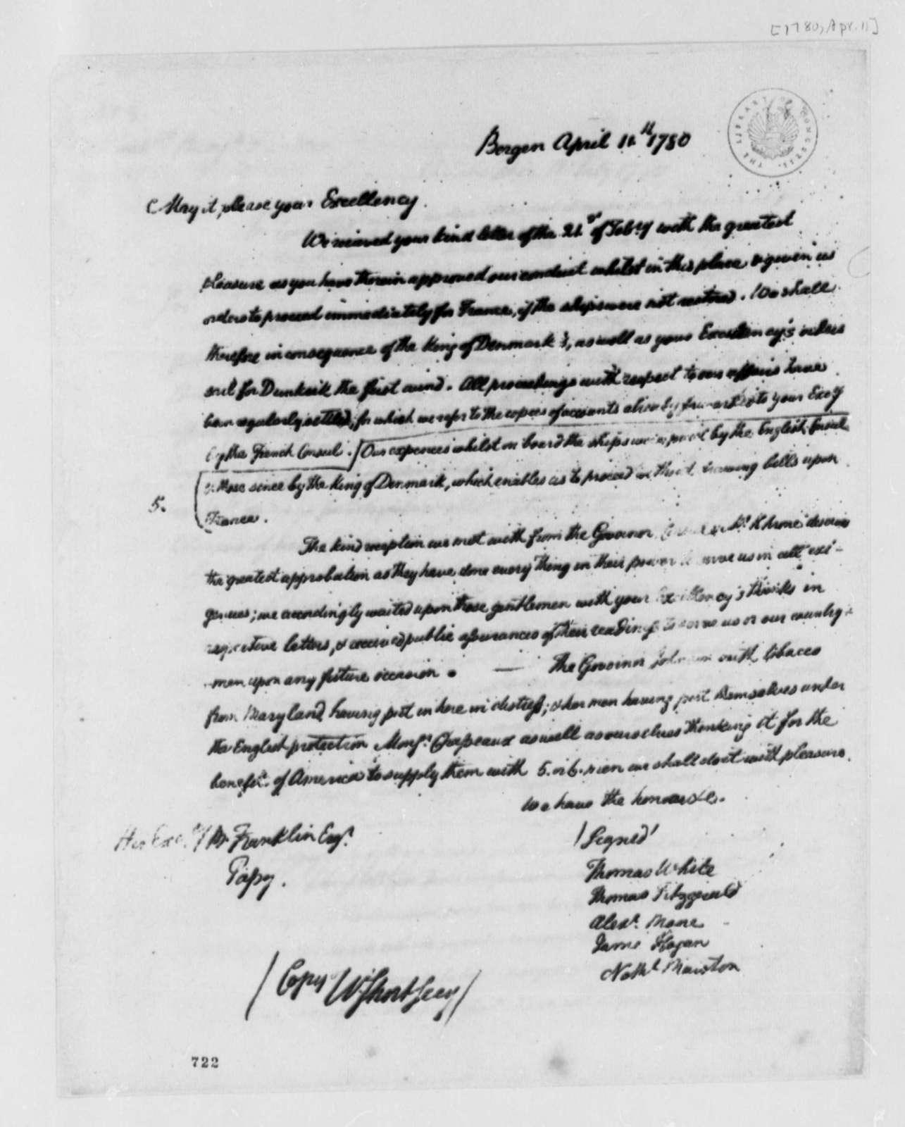 Thomas White, et al to Benjamin Franklin, April 11, 1780