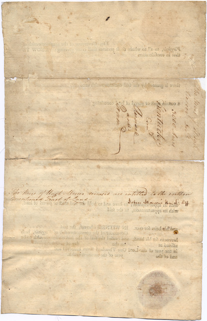 Three thousand-acre land grant to the heirs of Hugh Mercer, Kentucky County, Virginia